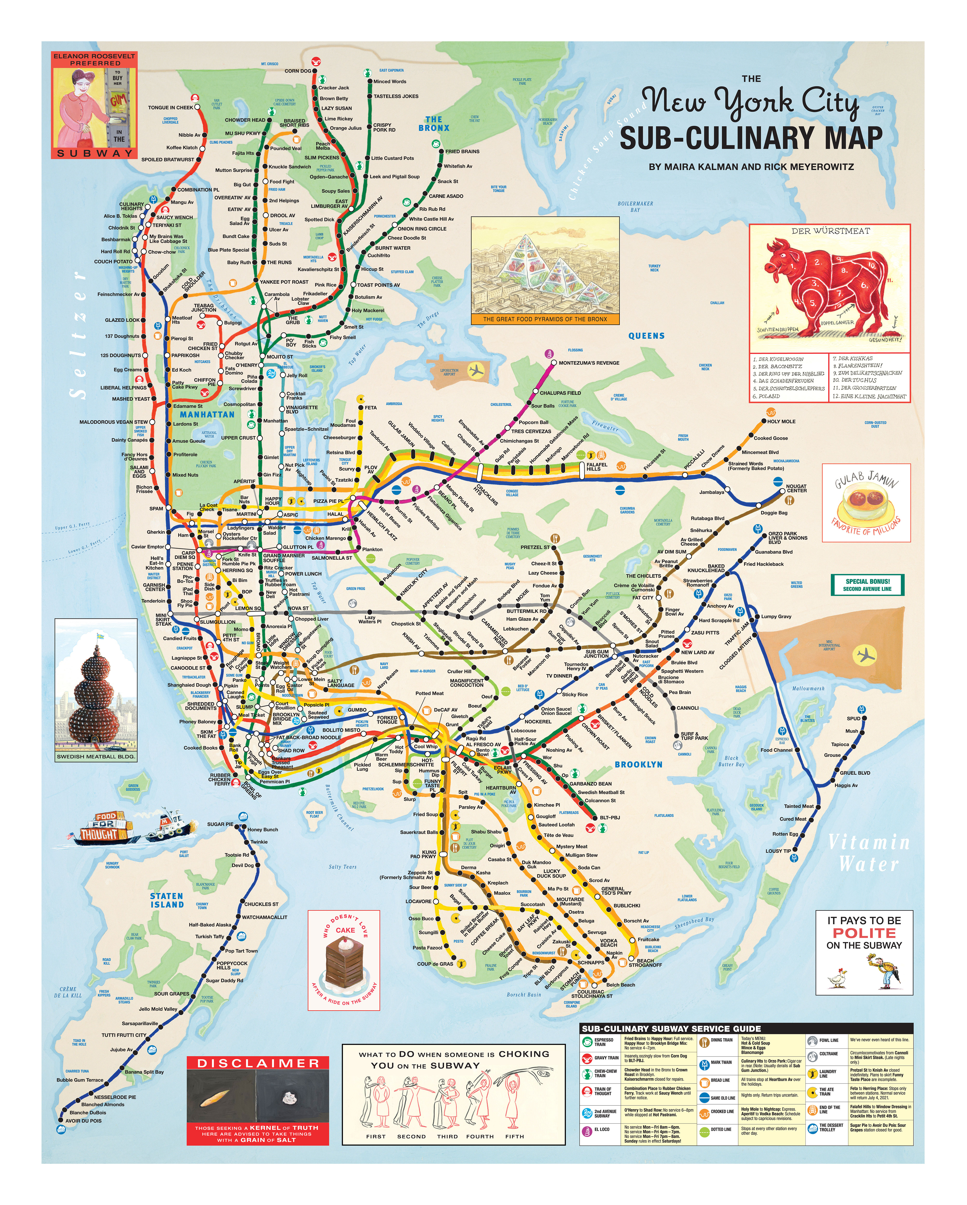 New York City Map The New York City Sub Culinary Map | Rick Meyerowitz New York City Map
