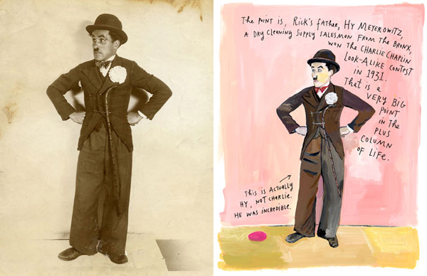Hy Meyerowitz impersonating Charlie Chaplin  and Maira Kalman's painting of that photo