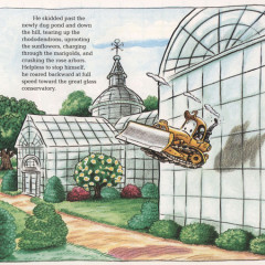The Crash: One of the keystone illustrations of the book. It illustrates that flying, especially flying backwards, is not advisable for a bulldozer.